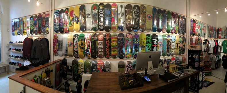 Inside view of Forty Two Skateboard shop Nottingham